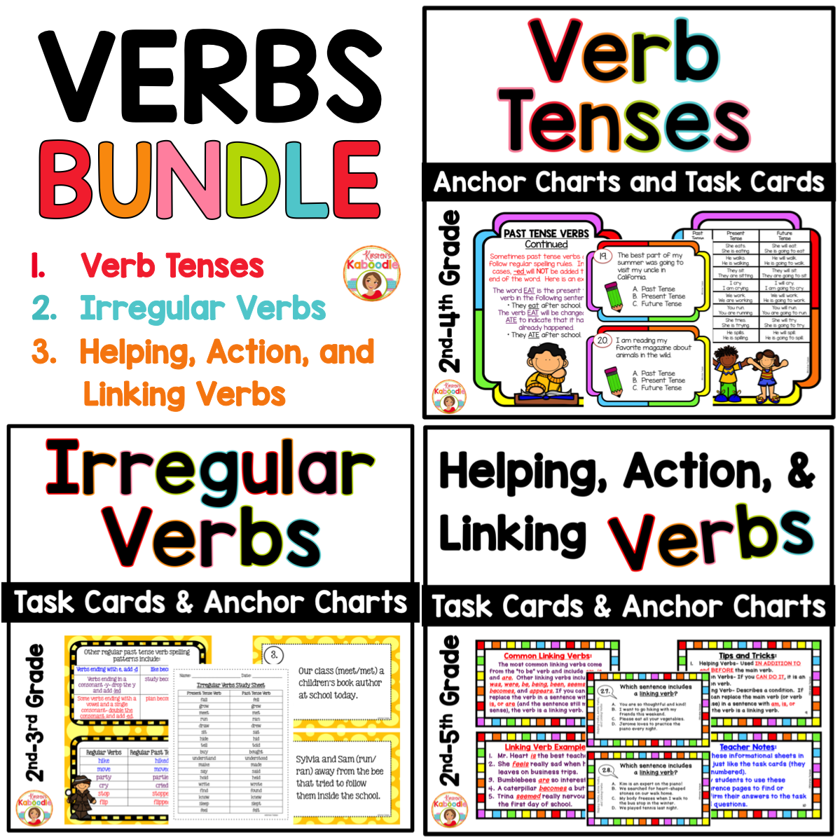 Verbs Bundle Verb Tenses Irregular And Helping Action Linking Task Cards Anchor Charts