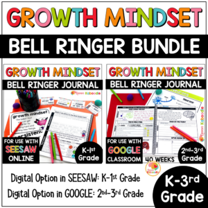 Growth Mindset Bell Ringer Warm-Up BUNDLE for Kinder to 3rd Grade COVER