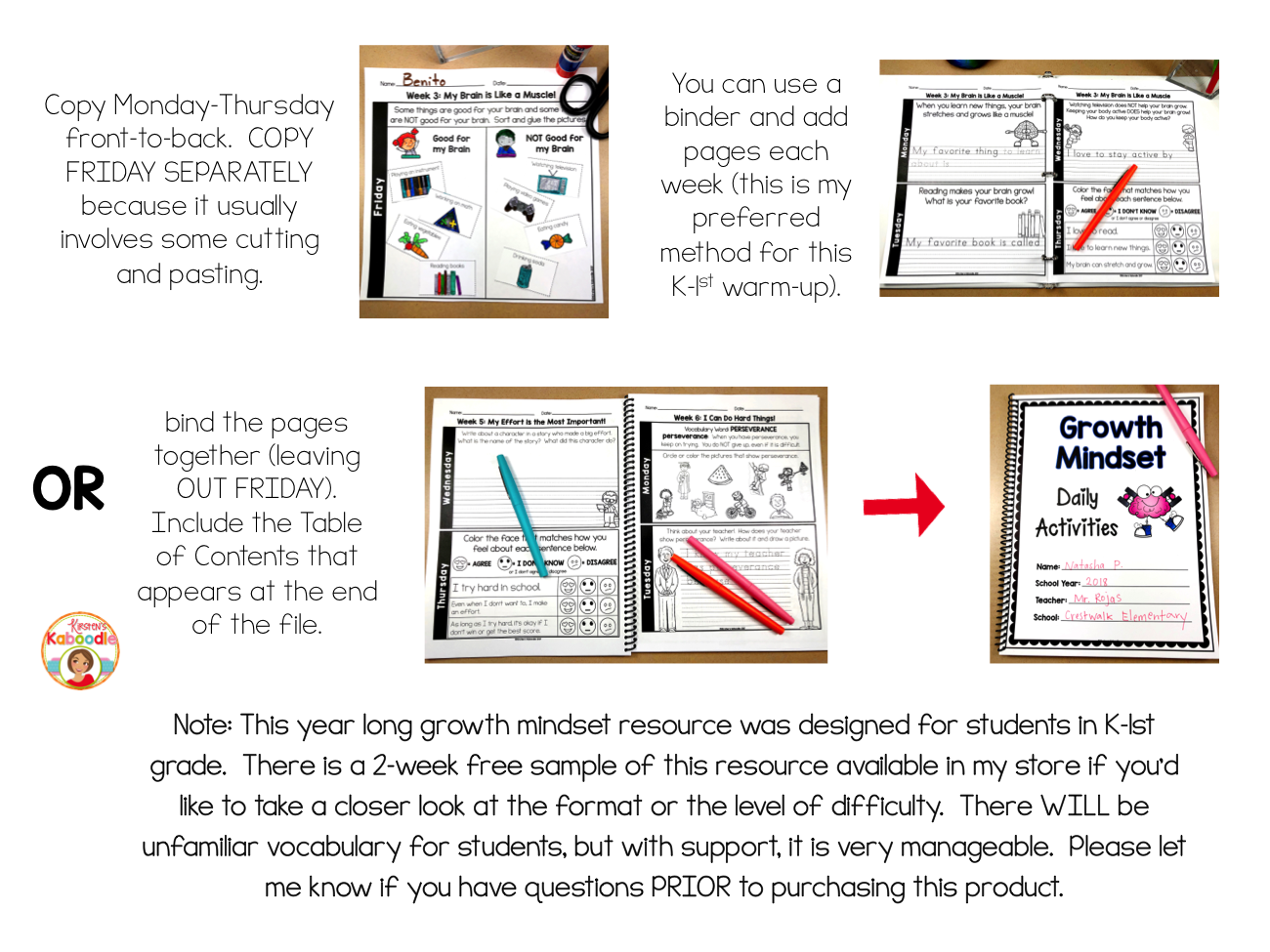 Growth Mindset Activities for Kindergarten and 1st Grade