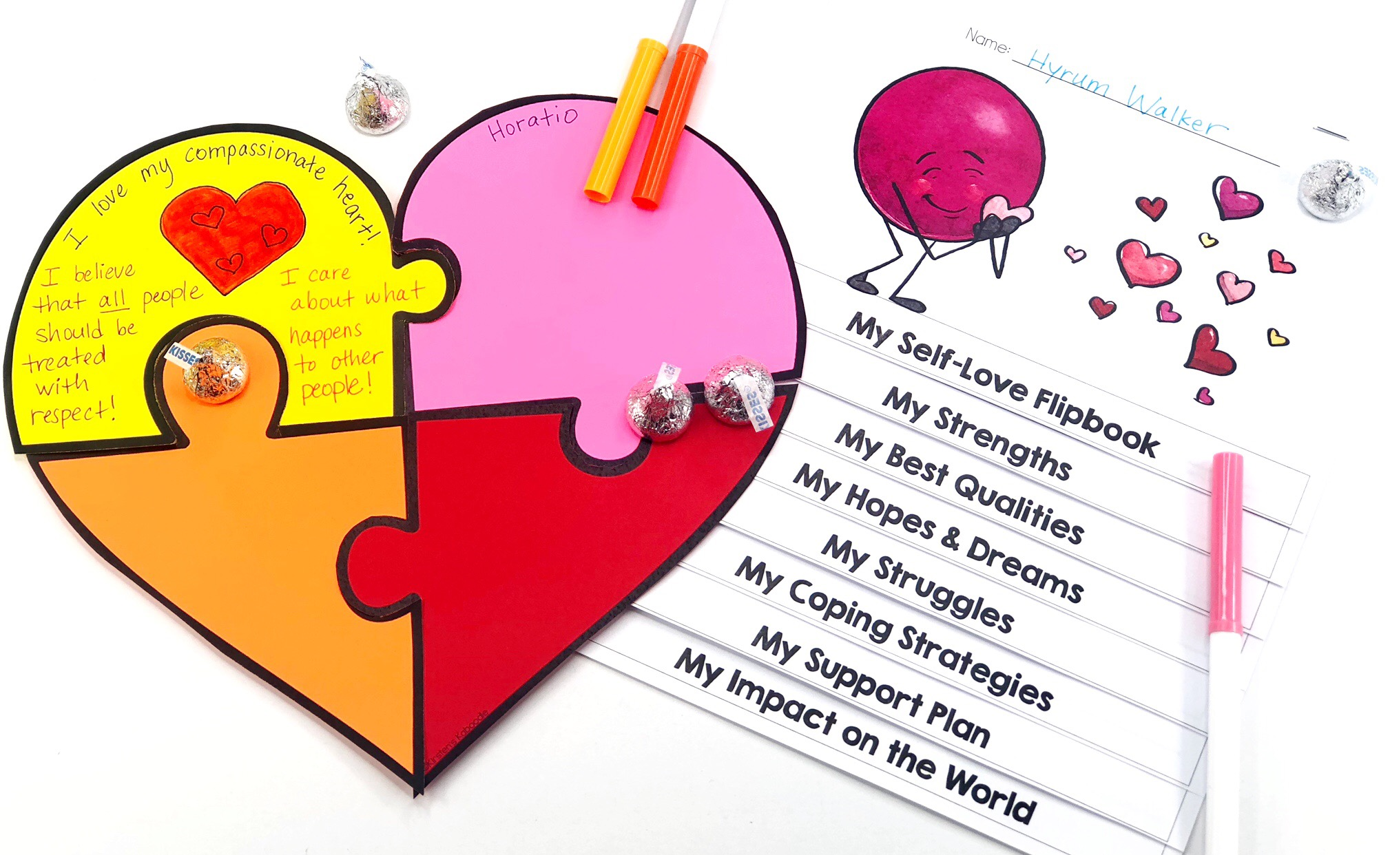 Self-Love Heart Poster and Flip Book