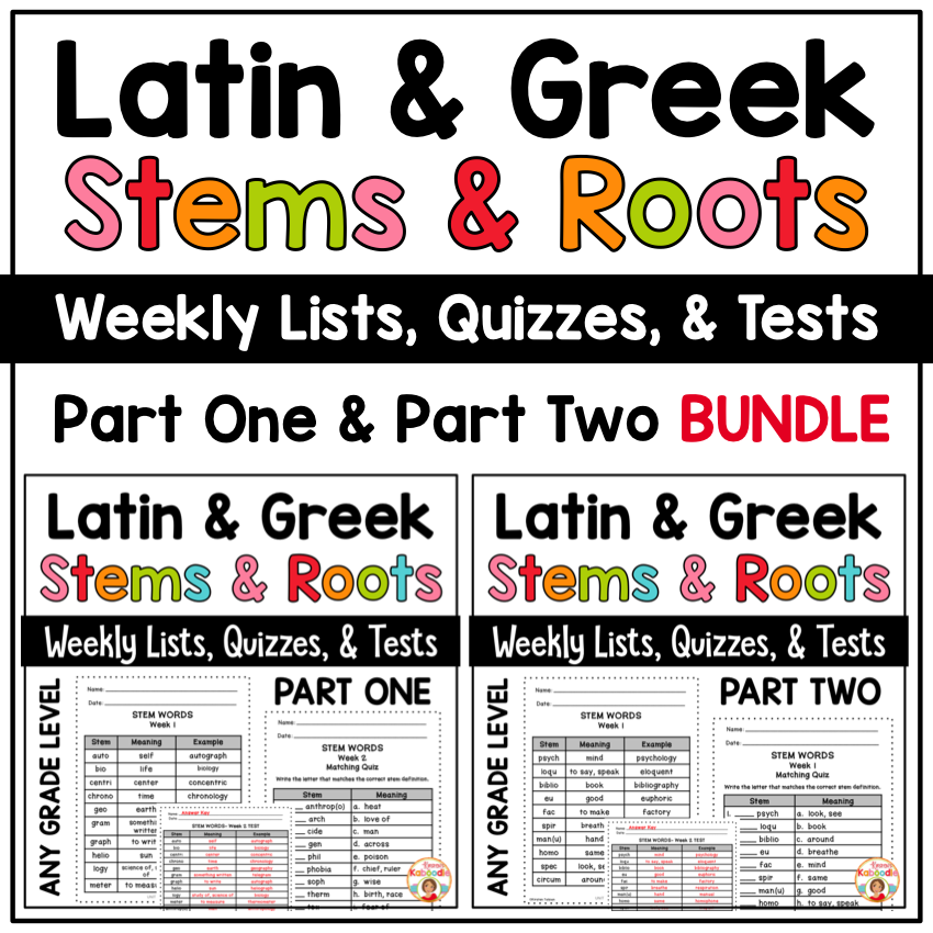 Latin and Greek Stems and Roots Weekly Lists, Quizzes, and Tests