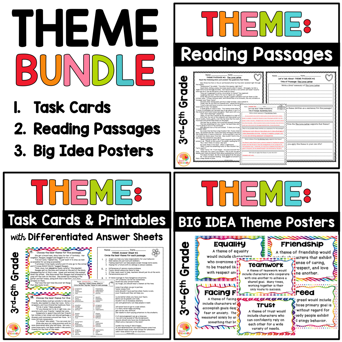 Theme Reading Passages, Task Cards, Printables, and Posters BUNDLE