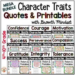 Quotes for Character Traits Posters