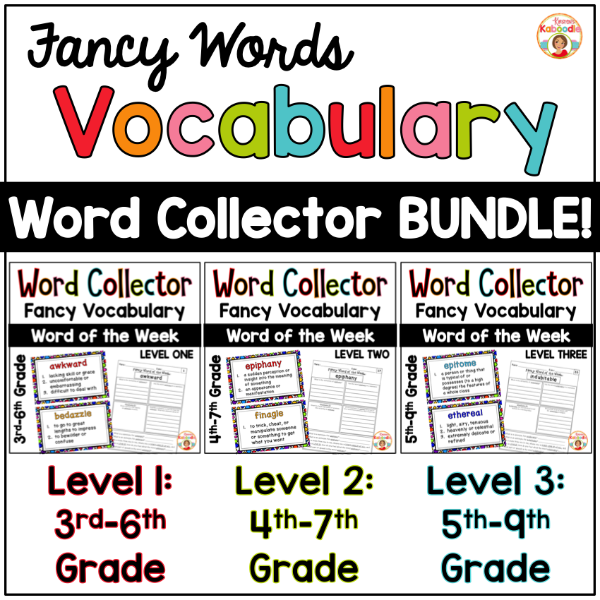Word Collector Vocabulary Activities: Fancy Words Bundle for 4th-9th ...