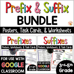 Prefix and Suffix Activities, Task Cards, and Posters BUNDLE COVER
