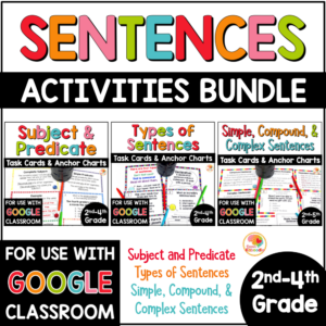 Sentence Structures Activities BUNDLE: Subject Predicate, Types of Sentences, Simple, Compound, Complex Sentences COVER