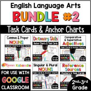 ELA MEGA BUNDLE Task Cards for 2nd and 3rd grade with digital option COVER