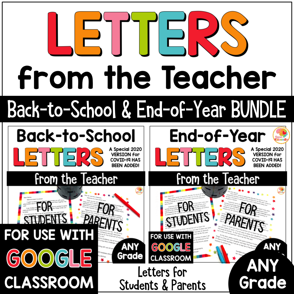 Back to School and End of Year Letters from the Teacher BUNDLE COVER