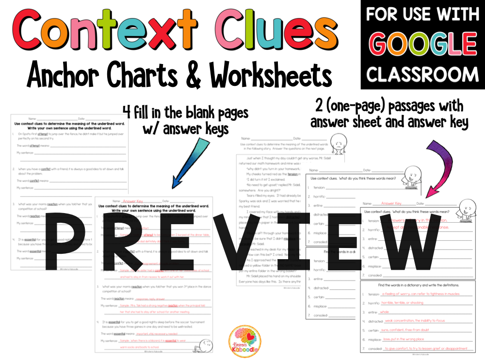 Context Clues Printables Worksheets for 2-4 PREVIEW