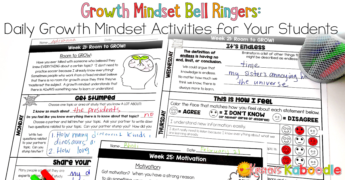 Growth Mindset Bell Ringers Daily Activites For Your Students