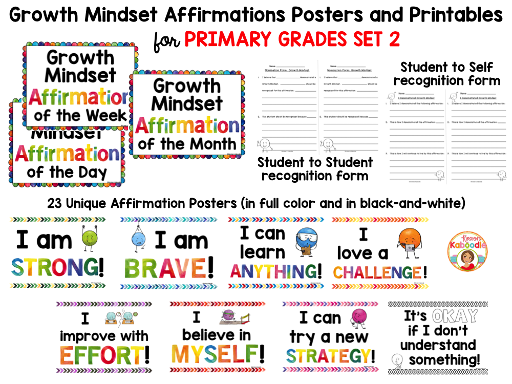 Growth Mindset Posters: Affirmations for Primary Grades BUNDLE PREVIEW
