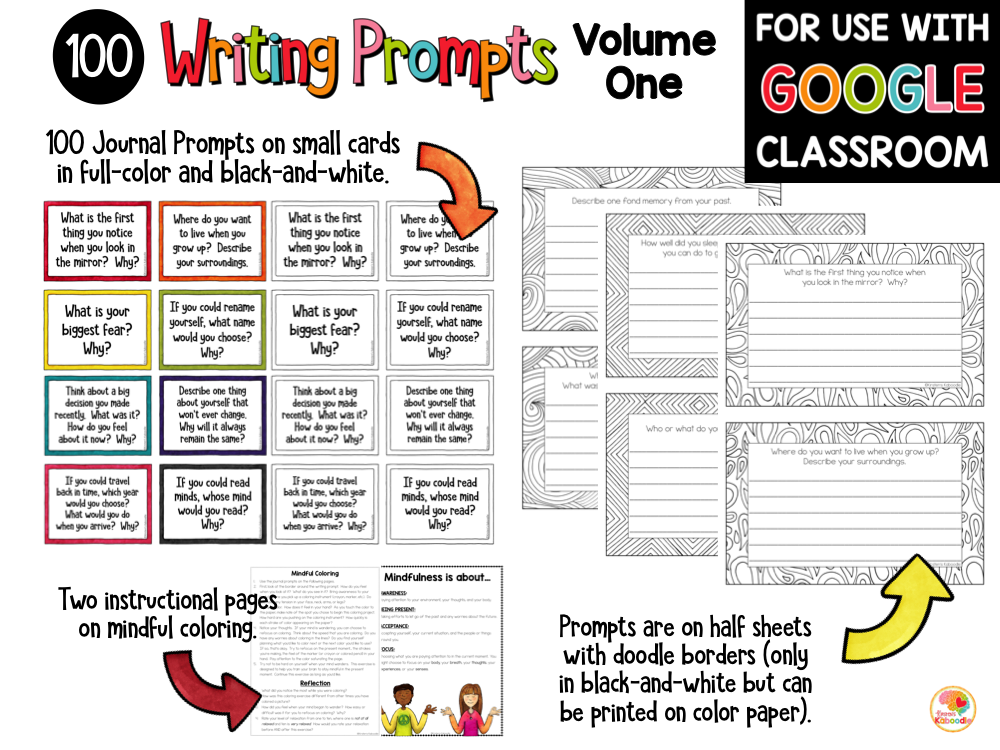 Mindful Reflection Quick Writes Journal Prompts BUNDLE PREVIEW