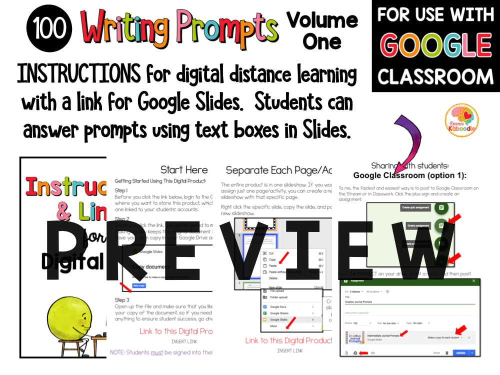 Quick Writes Journal Prompts PREVIEW