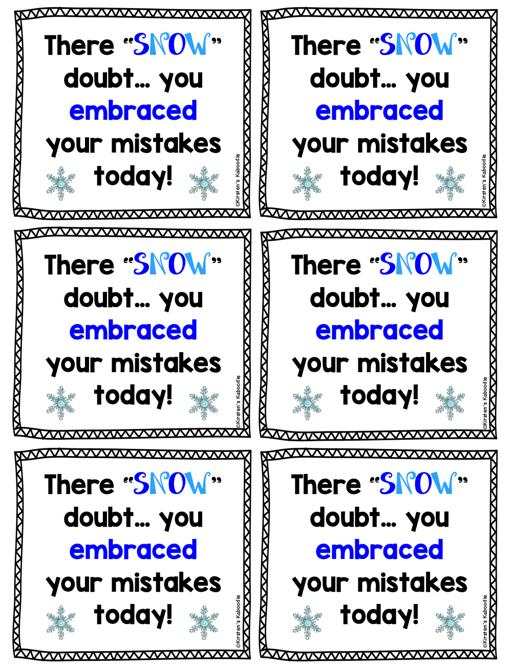 Growth Mindset Notes from the Teacher Winter Themed